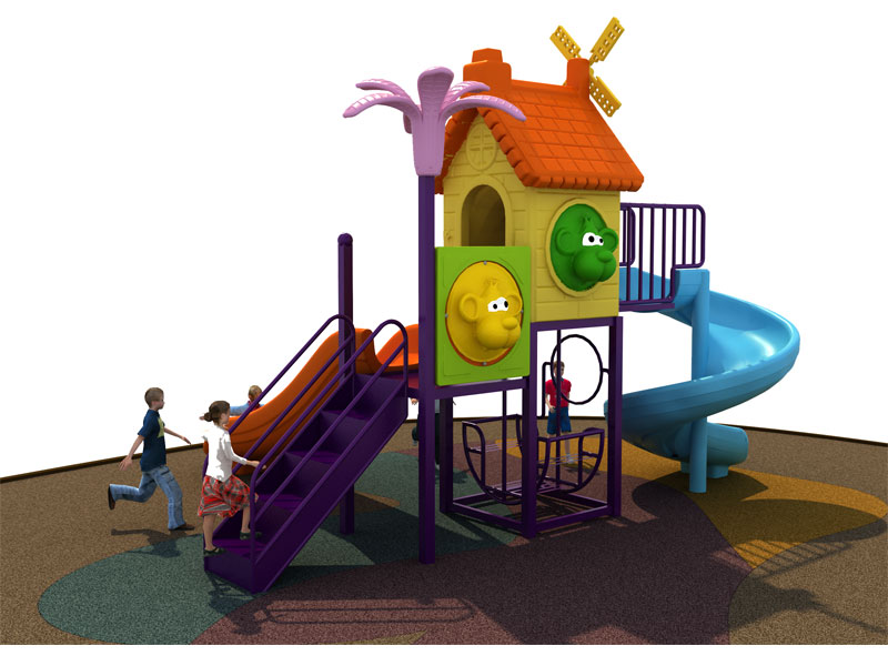 Outdoor Playhouse with Slide and Swing SJW-009