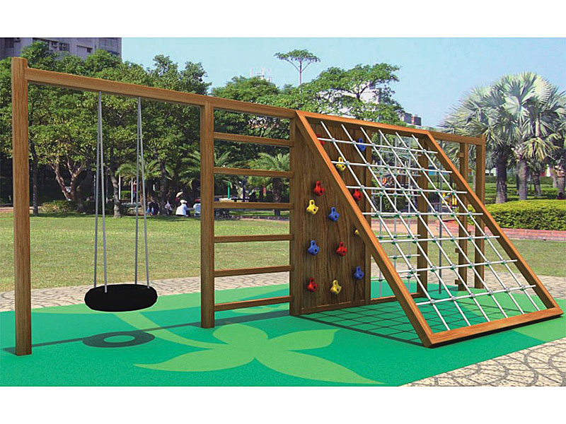 Barckyard Wooden Climbing Structure with Swing Set MP-023