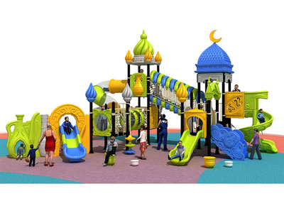 Large Plastic Outdoor Kids Play Castle with Slide YQL-004