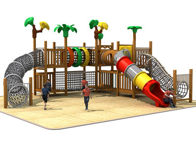 Wooden Play Area Equipment with Rope Tunnel GZ-004