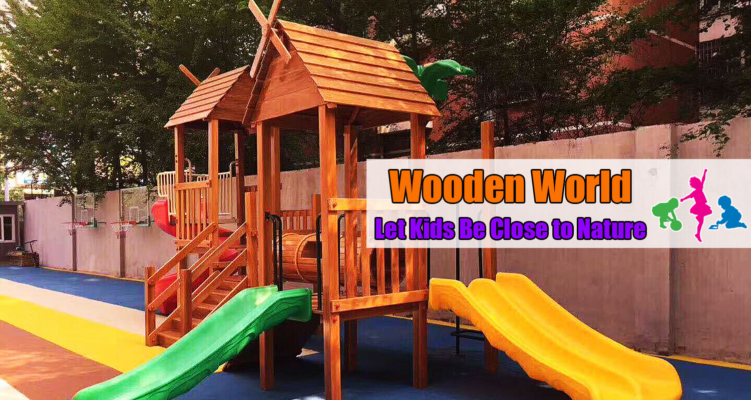 Barckyard Wooden Climbing Structure with Swing Set
