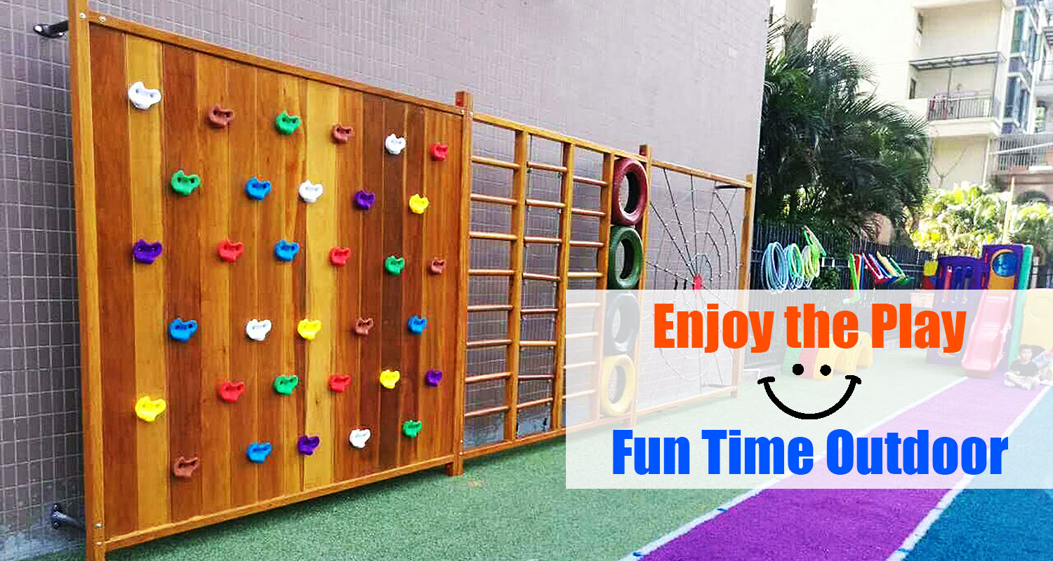 Outdoor Wooden Play Frame for Kids 3-12 Years