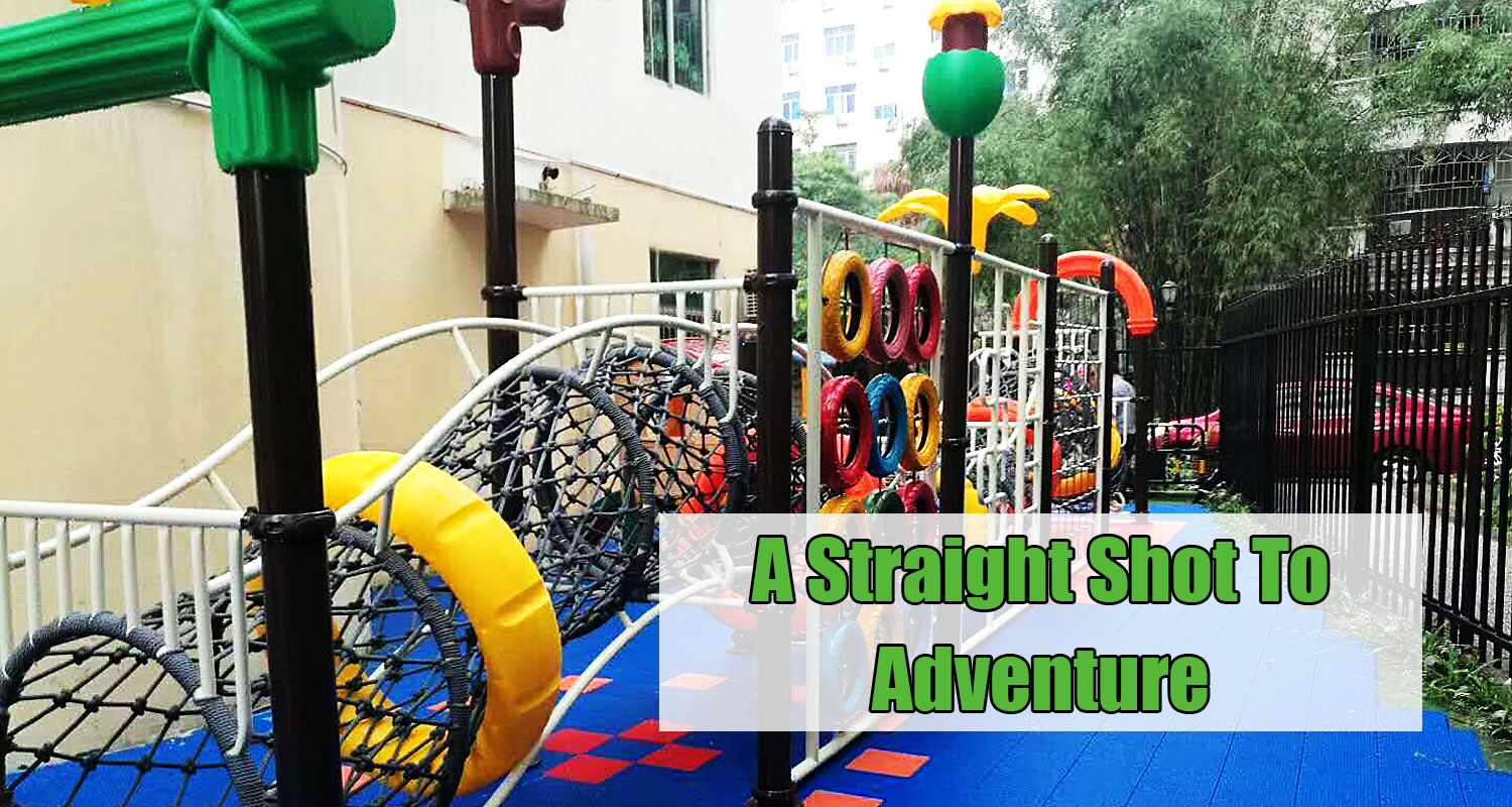 Outdoor Kids Cargo Net Climbing Frame with Slide